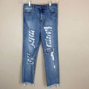 Cello Destroyed Stretchy Girlfriend Jeans Size7